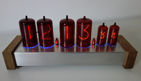 nixie clock red with 30mm and 13mm digit height